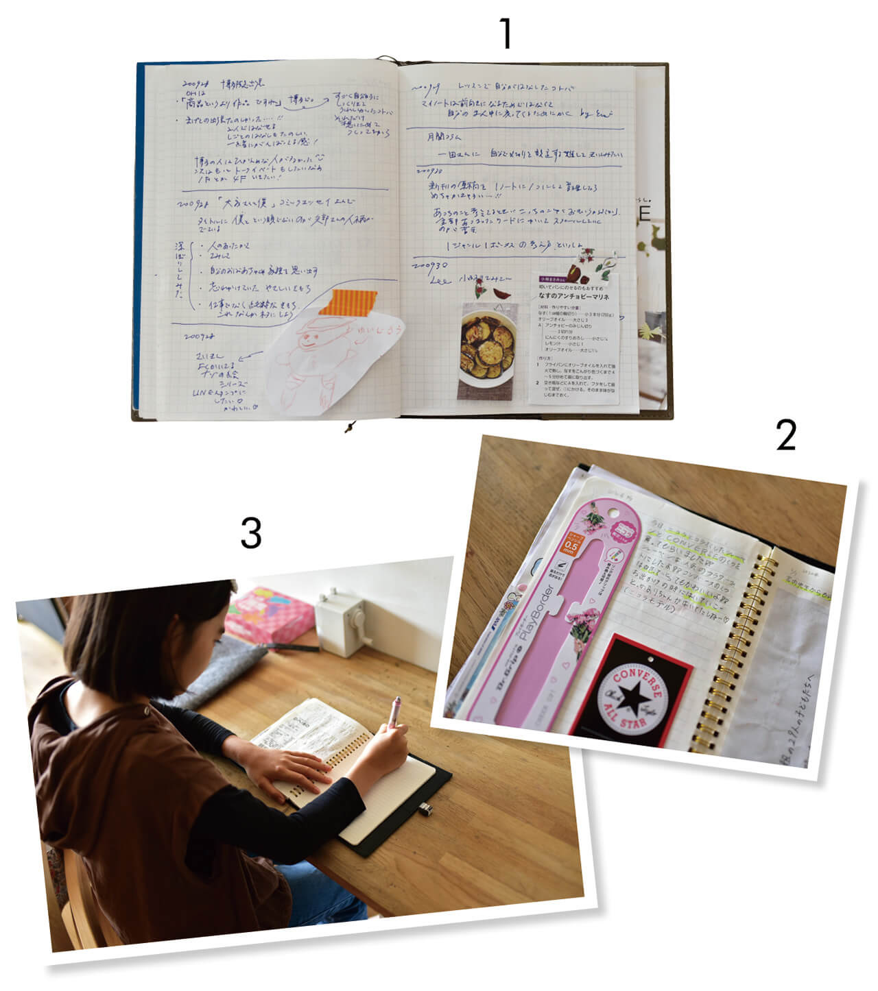 ❶Emiさんのマイノートを公開! 出張中の記録や作りたいレシピなど情報が盛りだくさん。❷・❸子どもたちも5歳のときからつけているマイノート。娘さんは購入したアイテムと、買い物できてうれしい気持ちも記して。